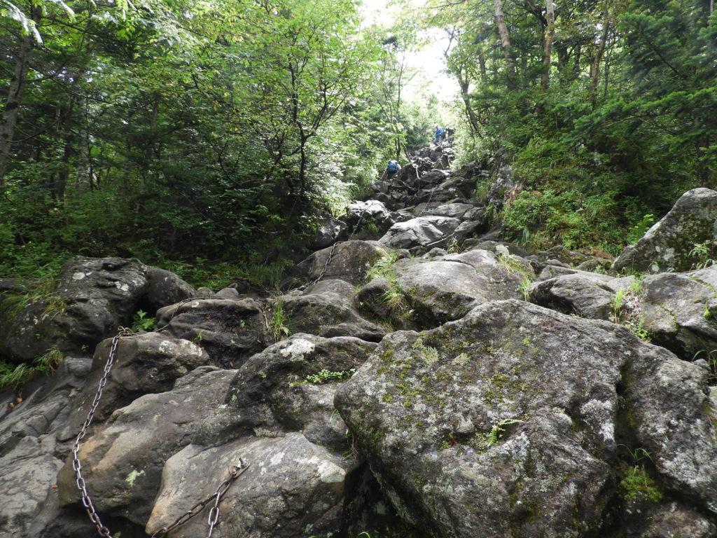山頂への岩の道